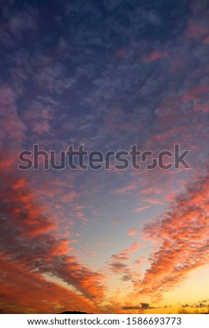Dramatic sunset sky with multicolor clouds #1586693773