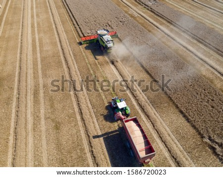Aerial view of wheat field being harvested by combine harvester with trailer and grain in foreground #1586720023