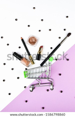 Basket and womens accessories. Womens accessories, on a pink background pastel. Beauty and fashion concept. Top view, flat minimalism. #1586798860