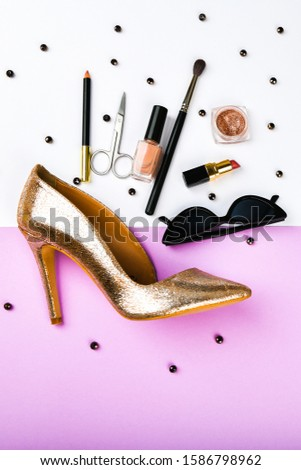 Womens shoes and accessories. Basket and womens accessories. Womens accessories, on a pink background pastel. Beauty and fashion concept. Top view, flat minimalism. flat lay #1586798962