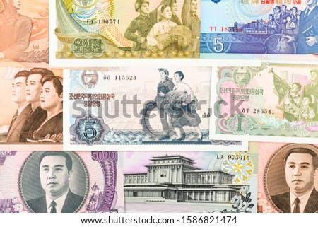 North Korea Won banknotes background. High resolution vintage photo of North Korean bill 3, DPRK money close-up macro.