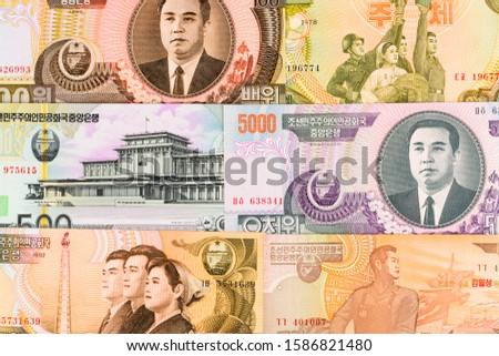 North Korea Won banknotes background. High resolution vintage photo of North Korean bill 1, DPRK money close-up macro.