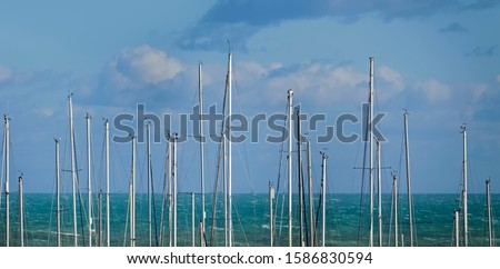 Italy, Siciliy, Mediterranean sea, Marina di Ragusa (Ragusa Province), sailing boat masts in the port #1586830594