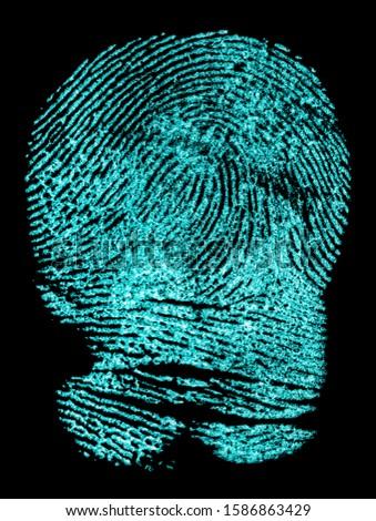 Fingerprint on black background. Fingerprint with ultraviolet lamp. #1586863429
