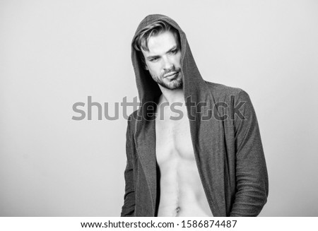 Masculinity concept. Masculinity and confidence. Man muscular torso wear hooded clothes. Unconventional but masculine look. Brute masculinity extremely commanding looking conventionally handsome. #1586874487
