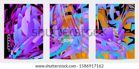 Abstract flyer template with bright colored random small particle explosion. Sport music social media layout. Optical art dynamic background with outer space motion. Futuristic vector. #1586917162
