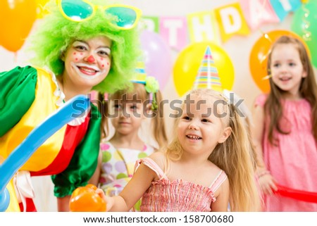 kids group and clown on birthday party #158700680
