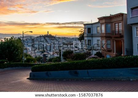 Lombard Street, San Francisco, at sunrise #1587037876