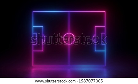 3d render, neon soccer field scheme, football playground, virtual sportive game, pink blue glowing line. Isolated on black background.