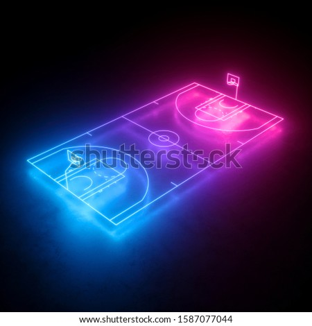 3d render, neon basketball field scheme, virtual sport playground, sportive game, pink blue glowing line. Isolated on black background.