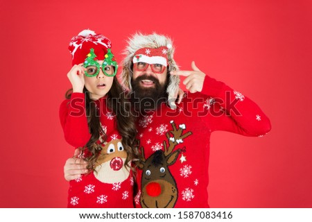 Family holiday. Family values. Dad and daughter celebrate new year. Happy family. Small girl and cheerful father man. Fatherhood concept. Family wear winter sweaters. Having fun. Christmas memories. #1587083416