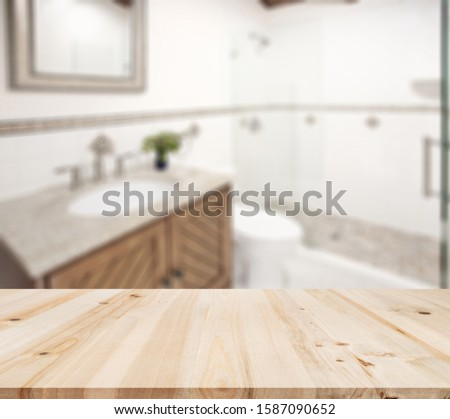 Table Top And Blur Bathroom Of The Background #1587090652