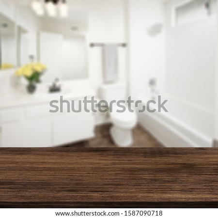 Table Top And Blur Bathroom Of The Background #1587090718