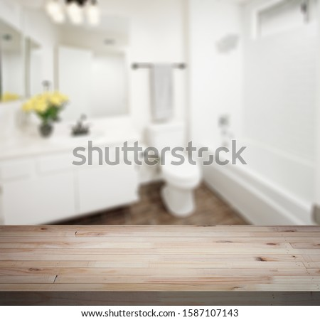 Table Top And Blur Bathroom Of The Background #1587107143