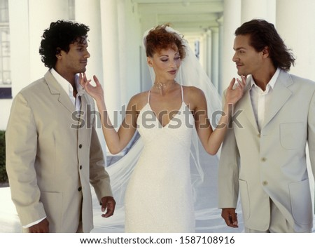 Bride with two possible grooms #1587108916