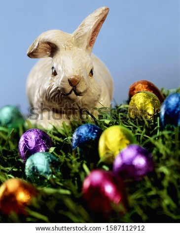 Easter bunny decoration and chocolate eggs on grass #1587112912