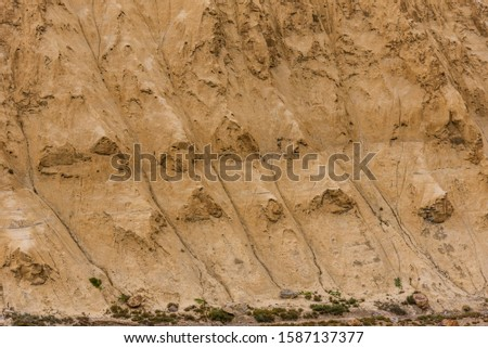 Gully erosion is a water erosion, prominent in arid cold desert landscape of Spiti due to barren steep slopes & weak unconsolidated geological surface mud rocks in Trans  Himalayas of Himachal Pradesh #1587137377
