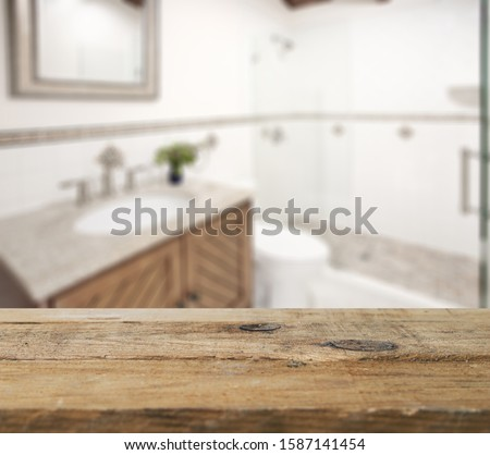 Table Top And Blur Bathroom Of The Background #1587141454