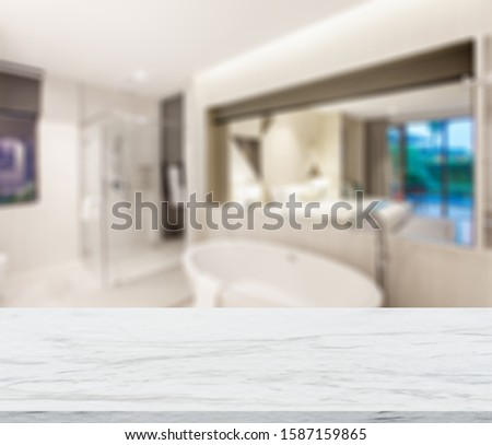 Table Top And Blur Interior of The Background. For montage product display or design key visual layout. - Image #1587159865
