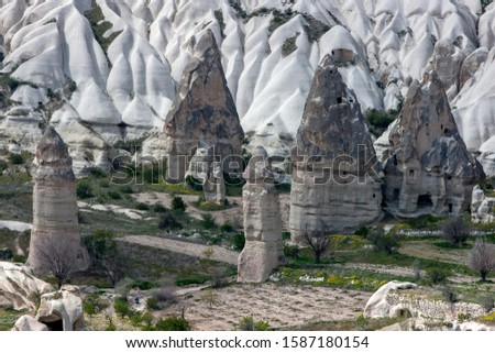 A series of differently sized volcanic rock formations known as fairy chimneys in Love Valley at Goreme in the Cappadocia region of Turkey. The two one the right were once cave homes. #1587180154