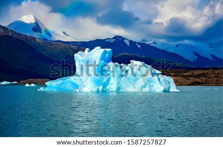Mountain lake glacier landscape in Argentina. Perito Moreno glacier view. Perito Moreno glacier in Patagonia, Argentina. Perito Moreno glacier #1587257827