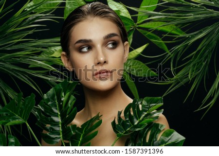 beautiful woman naked shoulders palm leaves charm model #1587391396