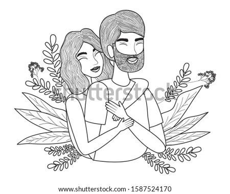 Couple of woman and man drawing design, Relationship love valentines day romance holiday and together theme Vector illustration #1587524170