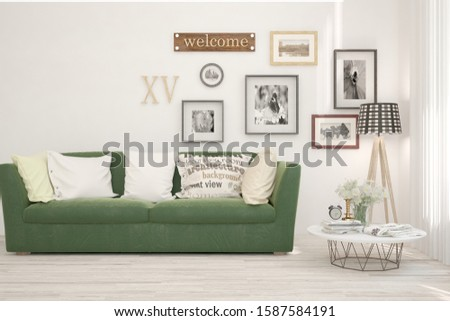 Stylish room in white color with sofa. Scandinavian interior design. 3D illustration #1587584191