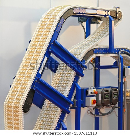 Conveyer belt at production line in factory #1587611110