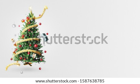Decorated Christmas tree, Christmas background, 3d rendering #1587638785