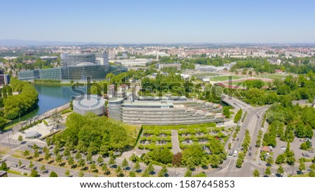 Strasbourg, France. The complex of buildings is the European Parliament, the European Court of Human Rights, the Palace of Europe, Aerial View   #1587645853