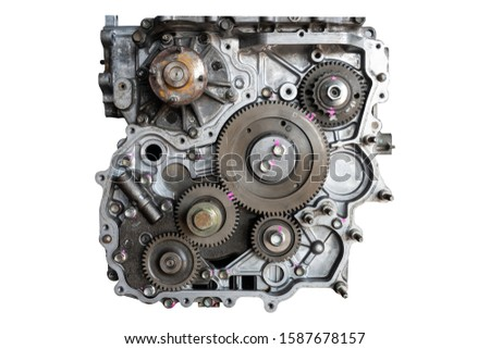 Car engine in the garage for maintenance. Repair service , on white background #1587678157