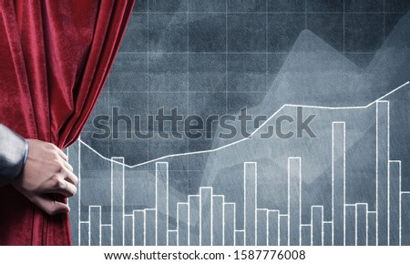 Close up of businessman hand open red velvet curtain to infographs #1587776008
