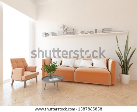White living room interior with sofa, armchair on a wooden floor, bookshelves on a large wall, white landscape in window. Home nordic interior. 3D illustration #1587865858