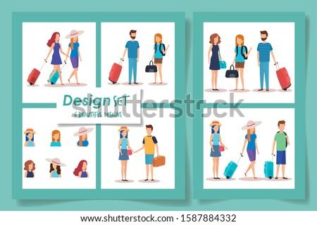 six designs of tourism people vector illustration design #1587884332