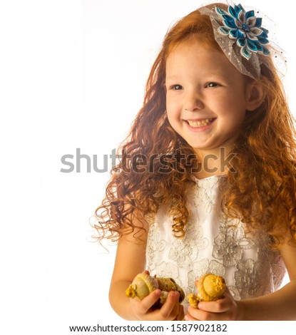 Studio photography, red-haired girl 4 years old, white dress, good mood, by nationality Tatarochka. #1587902182