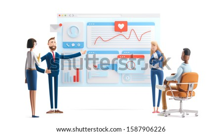 Business teamwork concept. 3d illustration.  Cartoon characters. web develop and web design team