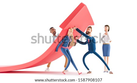 Business teamwork concept. 3d illustration.  Cartoon characters. Change of a direction, planning new strategy.