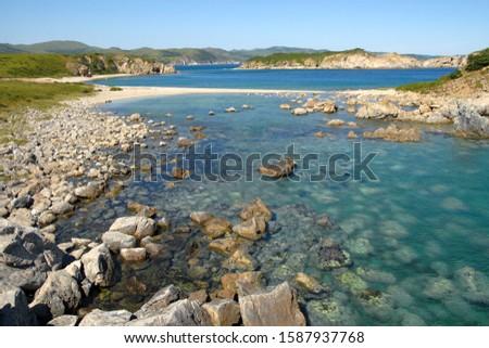 Far Eastern State Marine Reserve. View at Teplaya (Warm) Bay of Peter the Great Gulf. Gamow Peninsula, Primorsky Krai (Primorye), Far East, Russia. Royalty-Free Stock Photo #1587937768