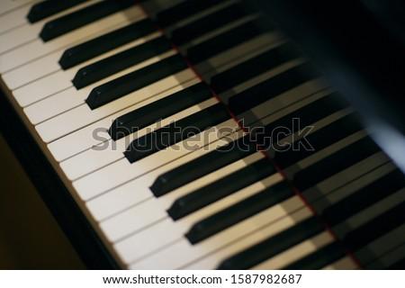 High angle view of piano keys #1587982687