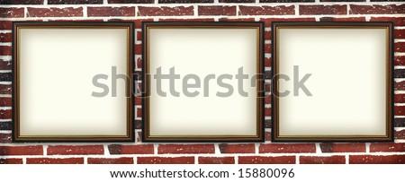 art  photo frame on a brick wall. urban exhibition #15880096