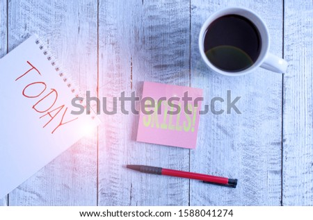 Writing note showing Skills. Business photo showcasing ability do something very well by nature Stationary placed next to a cup of black coffee above the wooden table. #1588041274
