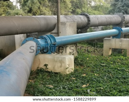 Large water pipes receive water from pumping from natural water sources. #1588229899