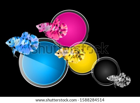 Fish jumping through four Primary colors CMYK, black background.