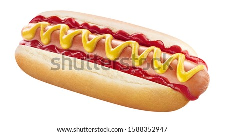 Tasty hot dog with mustard and ketchup, isolated on white background #1588352947
