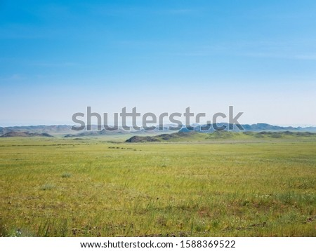 Beautiful natural scenic of grassland with hills,alpine meadows or flower meadows with the copy space of blue sky in Tien Shan mountains in Xinjiang of China #1588369522