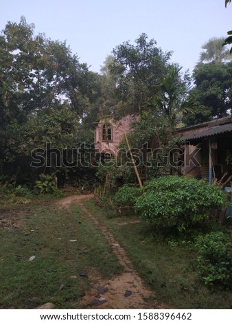 A rural scene with house in the middle of nature  #1588396462