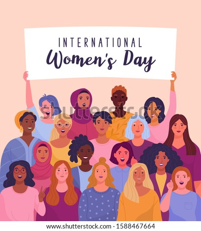 International Women's Day. Vector illustration of diverse cartoon women standing together and holding a placard over their heads. Isolated on background.  Royalty-Free Stock Photo #1588467664