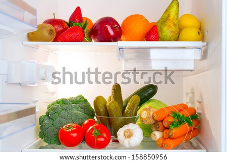 Fridge full of healthy fruits and vegetables #158850956