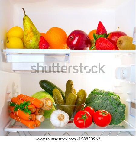 Fridge full of healthy fruits and vegetables #158850962